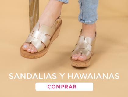 Sandalias rojas y hawaianas